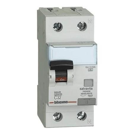 BTDIN45 INTERRUTTORE MAGNETOTERMICO DIFFERENZIALE SALVAVITA A 1P+N 32A 4,5KA 30M