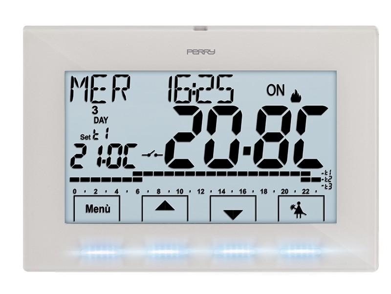 PERRY electric 1CRCR029B CRONOTERMOSTATO Digitale Next PARETE SETTIMANALE 230V Bianco